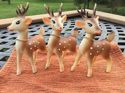 """3 Vintage Christmas Rubber Reindeer With Bells 6"""" Tall Made in Japan 1950s"""