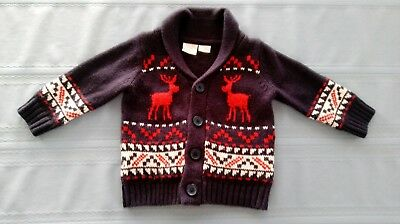 Adorable baby boy Christmas Holiday Winter Sweater Cardigan Size 12 Months