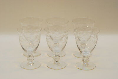 6 Heisey MOONGLO Lariat 5.75 Inch Water Goblet Goblets