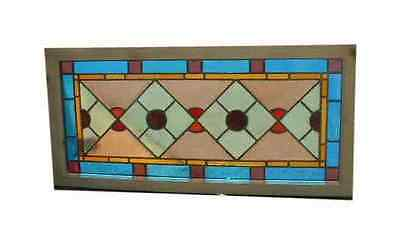 Antique Victorian Stained Glass Window Church Section Restored Etched 22 x 47