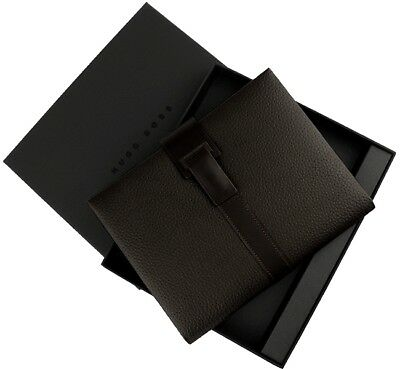 Hugo Boss Pure Leather Brown A4 Portfolio - New - HLF604Y - 50% Off