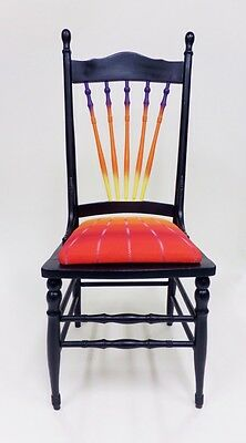 Vintage Wooden Farm Chair Antique Dining Seat Shabby Chic Black Orange Red 1920s