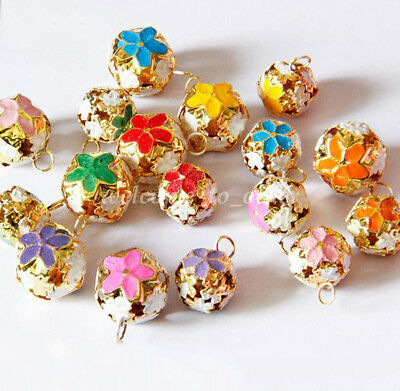 10Pcs Hollow Cloisonne Round Gold Plated Bell Bead Xmas Bell Jewelry Findings