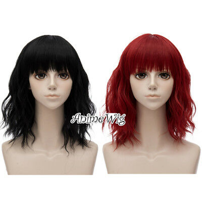 35CM Short Curly Lolita Black/Red Natural Daily Hair Cosplay Wig Heat Resistant