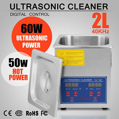 Stainless Steel 2 L Liter Industry Heated Ultrasonic Cleaner Heater w/ Timer CAN