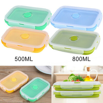 500/800ml Silicone Collapsible Portable Lunch Box Folding Food Storage Container