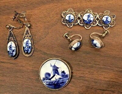 Vintage Lot of Delft Blue Earrings & Pins Silver Porcelain Holland Signed