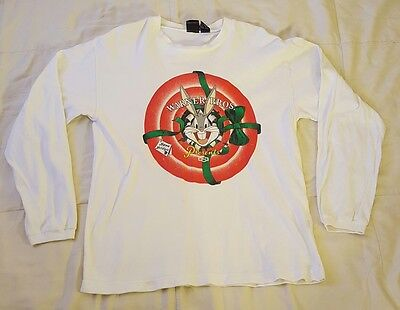 Vintage Warner Bros. Presents Happie Holidays Bugs Bunny Long Sleeve Shirt Size