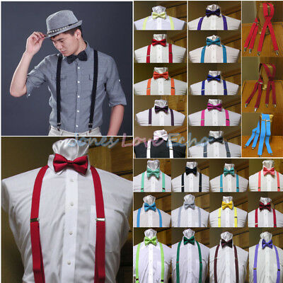 Men's Clip-on Suspenders X Back and Bow Tie Retro Steampunk Costume Tux Prom USA
