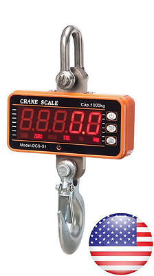 High Precision 1000KG 2000LBS 1T Aluminum Digital Crane Scale heavy Hanging USA