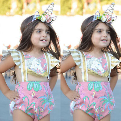 Newborn Kid Baby Girls Unicorn Backless Romper Bodysuit Jumpsuit Outfits Clothes