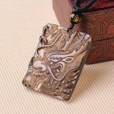 100% natural ice Obsidian jade Hand carved Chinese dragon pendant