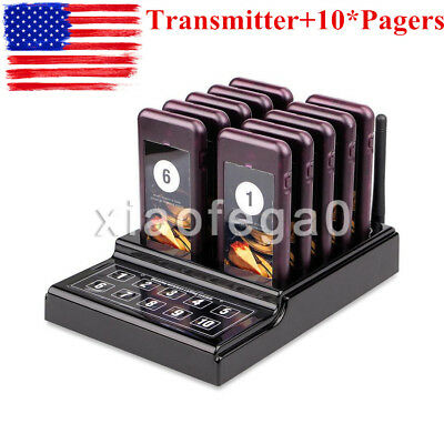 Restaurant Wireless Guest Paging Queuing Calling System Transmitter+10*Pagers US