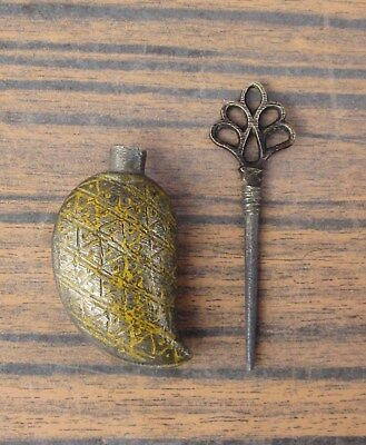 Antique Native Turkish Ottoman Empire Ethnographic Small Brass Perfume Bottle