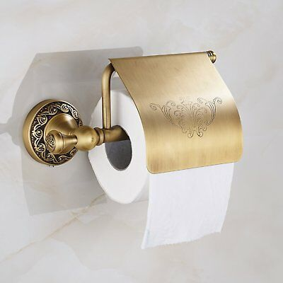 Antique Brass Toilet Paper Holder Roll Tissue Bracket Wall Mounted
