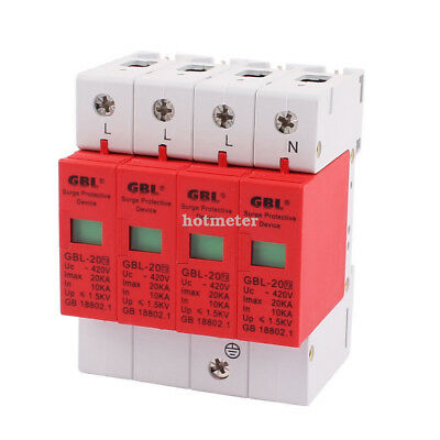 H● GBL-20 Lightning Arrester 35mm DIN Rail Mount 4-Pole Surge Protector