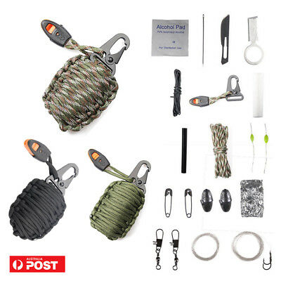 Emergency Survival Equipment Kit Paracord Bracelet Whistle Outdoor Camping Tool