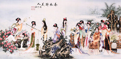 100% ORIGINAL FAMOUS FINE ART CHINESE WATERCOLOR PAINTING-Antique sexy Beauty