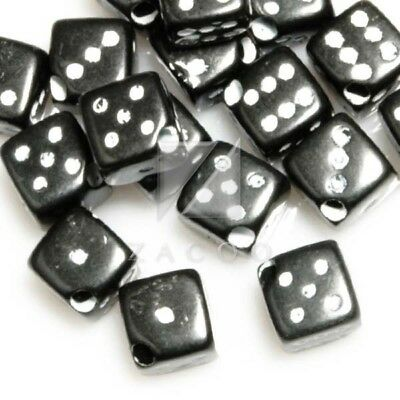 45pcs Acrylic Dice Cube Spacer Beads 6x6x6mm Black Wholesale