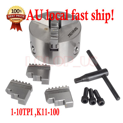 3 Jaw self centering Mini Lathe Chuck 100mm 4 inch + Reversable Jaw, Key Handle
