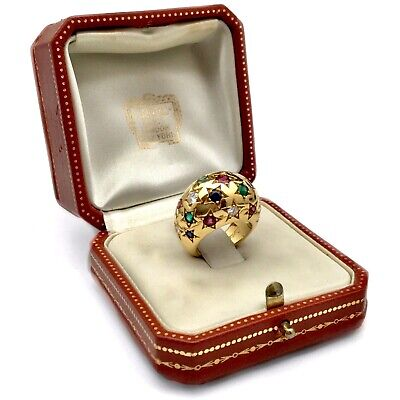 CARTIER DOME COCKTAIL RING VINTAGE MULTICOLOR 750er GOLD