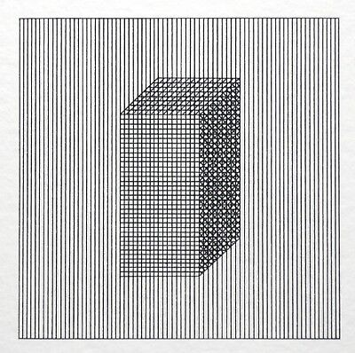 """Sol Lewitt, """"Twelve Forms derived from a Cube, Plate #4"""", signierter Siebdruck"""