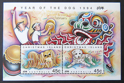 1994 Christmas Island Stamps - Year of Dog - Mini Sheet-Melbourne Overprint MNH