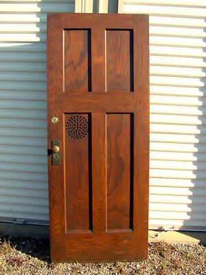 Old Solid Wood 32 Inch Four Panel Confessional Church Door