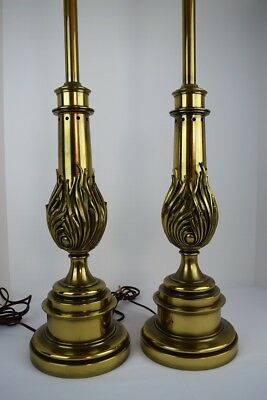 Pair of Vintage STIFFEL Hollywood Regency Modern Tall Solid Brass Table Lamps