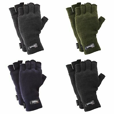FLOSO Mens Thinsulate Thermal Winter Warm Casual Fingerless Gloves (3M (GL355)