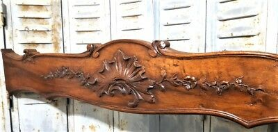 "SOLID HAND CARVED WOOD PEDIMENT 41"" ANTIQUE FRENCH PROVENCE SALVAGE CREST 19 th"