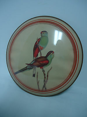 """Antique 1930's Birds (Parakeets?) FLUE COVER STOVE PIPE COVER 9"""""""