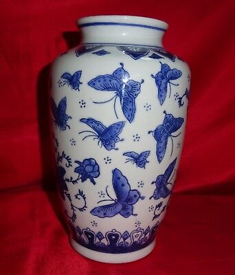 Chinese Blue and White Butterfly Vase – Vintage, Mid 20th century.