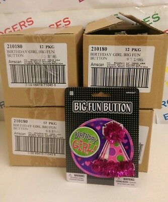 Wholesale Job Lot 48 x Birthday Girl Big Fun 10cm Button Party Badge w. Tinsel