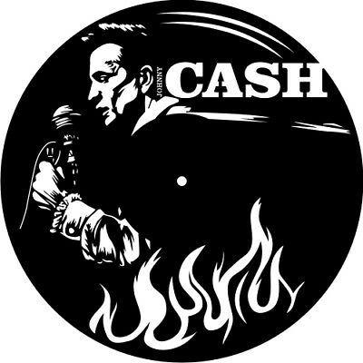 DXF CDR  File For CNC Plasma Laser Cut - JOHNNY CASH Clock - Ready to Cut