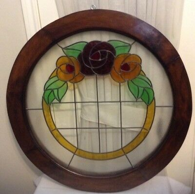 "28.5"" Vintage Art Decor Real Lead Stained Glass Window Round Wood Frame Heavy"