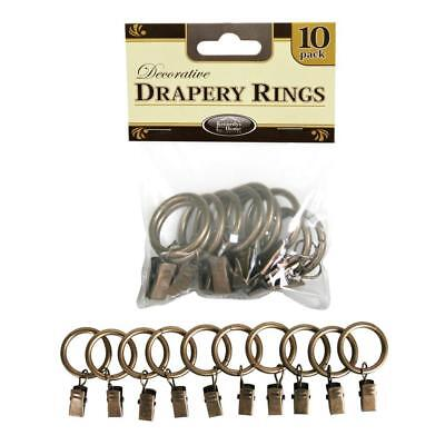 Kennedy International 1 in. Clip Rings in Antique (10-Pack) Curtain Accessories