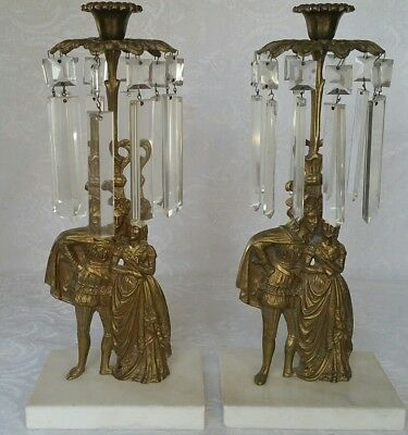 Pair Antique Bronze Candelabras Candleholder W/prisms Marble Base French Fancy
