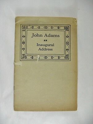 John Adams (2nd President of the USA - 1797) Inaugural Address Booklet