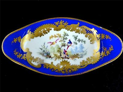 Antique Sevres Style Porcelain Footed Dish Birds Gilt Enamel Before Blue Ground