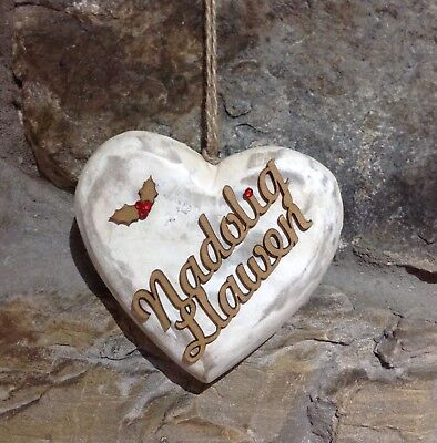 Beautiful Solid Wooden,Shabby Chic Nadolig Llawen Heart