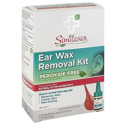 Similasan Ear Wax Removal Kit Relief Drops Peroxide Free with Latex Free Syringe