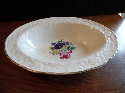 """Vintage Rose Point STB233 by Steubenville Floral 9 1/2"""" Oval Serving Bowl"""