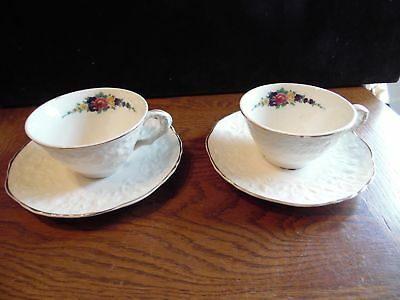 2 Vintage Rose Point STB233 by Steubenville Pottery Cup & Saucers Floral