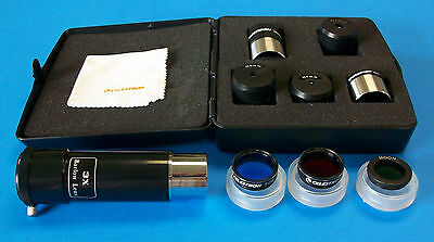 Celestron 11 pc Accessory Kit For Telescope Eyepiece Filter Case + FREE Barlow