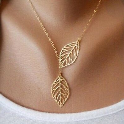 Necklace Leaf Pendant Gold Chain Jewelry Long Women Leaves Fashion Sweater