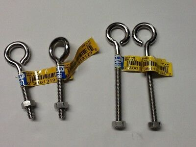 """Stanley N221-598/606. 1/4""""X 3"""" & 4""""  lot of 4 stainless eye bolts"""