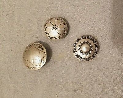Native American Buffalo Nickle Concho Button + Two Sterling Concho Button Covers