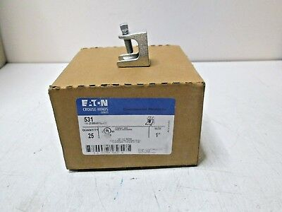 """New Box of 25 EATON Crouse Hinds 531 1/4-20 BEAM CLAMPS 1"""" Free Shipping"""