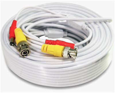 Security Camera Cable Wire CCTV Video Power 100 FT 30M BNC RCA Cord DVR White US